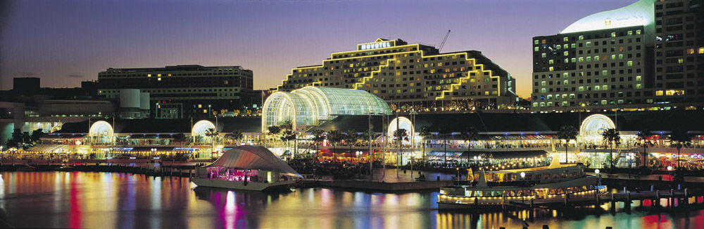 Panoramic view of Darling Harbour at night