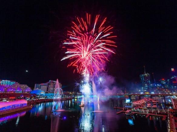 Saturday fireworks at Darling Harbour